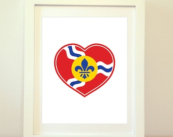 STL Love, St Louis Heart Print, Saint Louis, St Louis, St Louis Flag, St Louis Poster, St Louis Art, St Louis Print, 6 Sizes