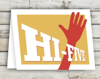 HI-FIVE! Encouragement Card,  Good Job, Greeting Card, Encouraging Words, Graduation Card, Just Because Card, Graduation Invitation