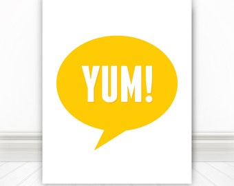 A Delicious Food Print, Yum, Yellow, Print, Kitchen Print, Kitchen Sign, Kitchen Wall Art, Nerd Print, Wall Art, Foodie - 8x10