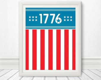 1776, Centennial, Flag, USA, American Flag, Home Decor, USA Flag, 4th of July, Art, Print, Design, 13 Colonies, America