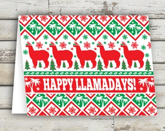 Happy Llamadays, Christmas Card, funny christmas card, unique christmas cards, Llama, Llamas, XMAS, Holiday Card,Xmas Card