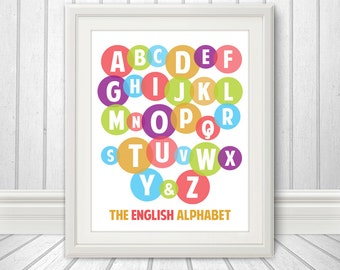 Alphabet Print, Letters, Nursery Wall Decor, Art For Kids, Baby Nursery Art - 11 x 14