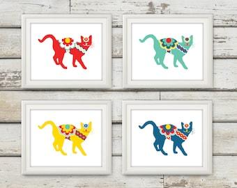 Swedish Dala Cats, Cats Art , Cats, Swedish Dala Horse, Cat Decor, Cat Wall Art, Cat Gift, Swedish Horse, Cats Print, 4 Print Set