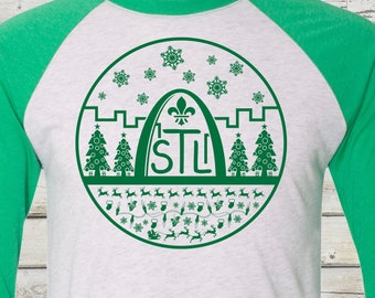St. Louis Christmas Baseball Tee - STL City Shirt, St Louis, Saint Louis, STL