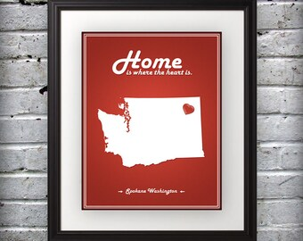 Washington - Home Is Where The Heart Is - Washington Custom State Print