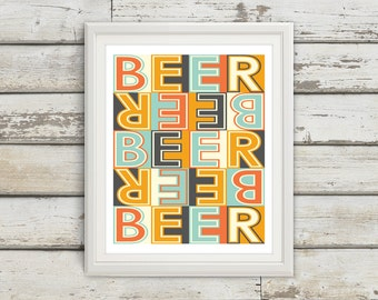 Beer, Beer Sign, Home Decor, Beer Signs, Beer Art, Beer Wall Decor, Beer Artwork, Beer Art Print, Mid Century Modern Art, Beer Wall Art
