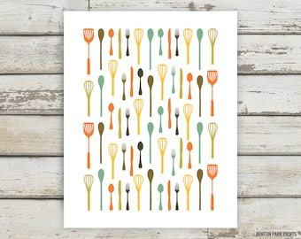 Fun Kitchen Art, Utensil Forest Print, Kitchen Decor, Fork, Knife, Spoon, Spatula, Ladle, Wall Art, Apartment Artwork