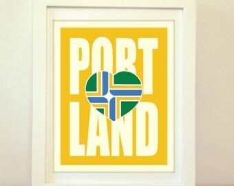 Portland, Portland Heart, Portland Oregon, I Heart Portland, Portland Art, Portland City Print, Portland Map, Portland Print, Type