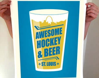 St Louis Beer Poster - Awesome Hockey & Beer - Typography Art Print - STL St. Louis Saint Louis - St Louis Skyline