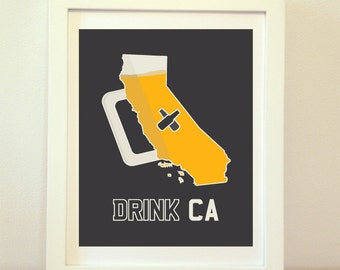 California, California Wall Art, California Beer, California Art, California Poster, California Print, California Sign, Cali, Beer, CA