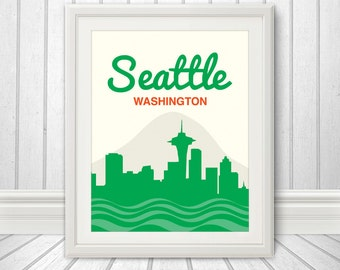 Seattle, Seattle Skyline, Seattle Print, Seattle Poster, Washington
