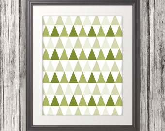 Abstract Green Triangles, Triangle Print, Triangle Art, Triangle Poster - 8x10
