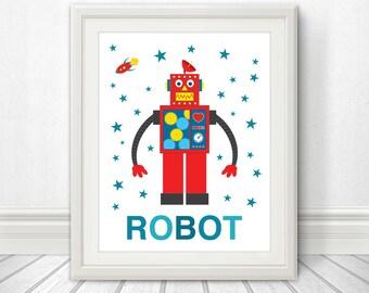 Retro Robot Nursery Print, Robot Art, Robot Print, Robot Poster, Robot Sign, Children's Wall Art, Nursery Art