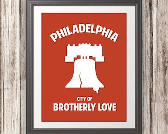 Philadelphia, Liberty Bell, City Of Brotherly Love - Philadelphia Print, Philadelphia Art, Custom Color - 11x14 Print