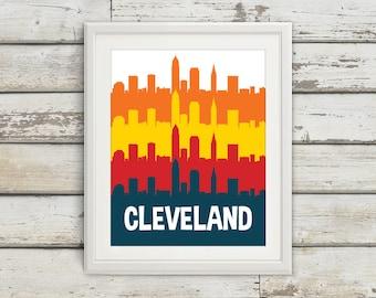 Cleveland, Ohio, Cleveland Ohio, Cleveland Skyline, Cleveland Art, Cleveland Poster, Cleveland Print, Ohio Print, Ohio Art, Ohio Poster