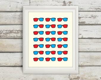 3D Glasses, 3D Glasses Art, 3D Glasses Print, 3D Glasses Poster, 3D Glasses Wall Art, 3D Glasses Sign, Nerd Glasses, Nerd Art, Nerd