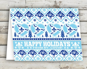Happy Holidays from St. Louis, Saint Louis, Holiday Card, Christmas Card, Fleur De Lis, STL, Missouri, St. Louis Arch, XMAS