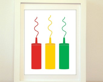 Ketchup, Mustard, Relish, Kitchen Print, Ketchup Print, Kitchen Wall Art, Kitchen Poster, Mustard Print, Mustard Poster, Relish Print