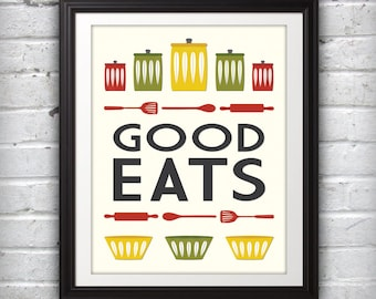 Jars Print, Bowl Print, Kitchen Art, Kitchen Print, Mid Century Print, Mid Century Art, Mid Century Poster, Good Eats - 11x14
