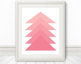 Pink, Pink Triangle, Pink Triangles, Pink Shapes Abstract, Pink Art, Pink Print, Pink Artwork, Art Print, Pink Poster, Pink Abstract