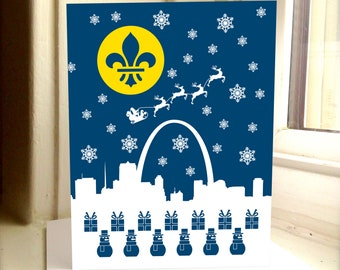 Santa and Reindeer STL Greeting Card, Saint Louis, St Louis, Skyline, St Louis Holiday Card, STL, Greetings from St Louis, Christmas Card