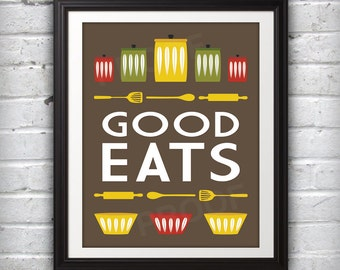 Jars Print, Bowl Print, Kitchen Art, Kitchen Print, Mid Century Print, Mid Century Art, Mid Century Poster, Dark Good Eats Print - 11x14