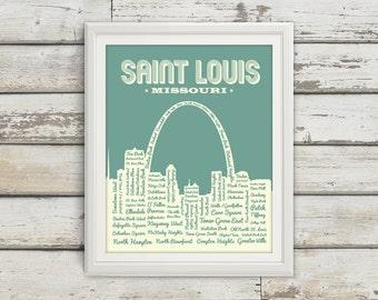 St. Louis Neighborhoods Poster, St. Louis Arch, Saint Louis, St. Louis, St Louis Poster, Typography, St. Louis Map, Arch, Missouri, Art