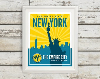 New York, New York City, New York Print, New York Artwork, Statue of Liberty, New York Poster, NYC, New York Skyline, New York Map