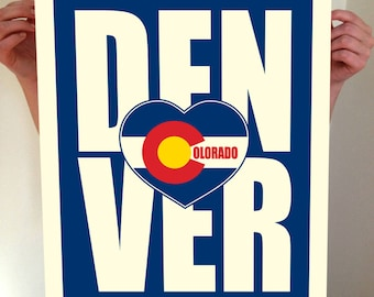 Denver, Colorado, Denver Heart, Denver Typography, Denver Print, Denver Art, Denver Sign, Denver Poster, Denver Colorado, Typography