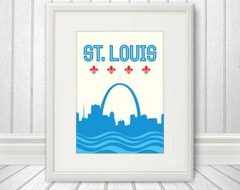 St. Louis, St. Louis Skyline, St. Louis Arch, St. Louis Print, St. Louis Poster - 5x7