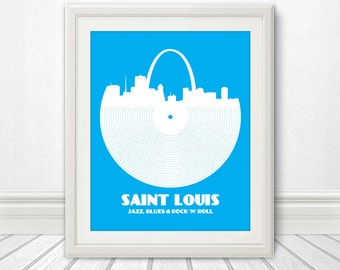 Saint Louis, Jazz, Blues and Rock 'n' Roll, Print, St Louis, St. Louis Art, St Louis Poster, St Louis Print, Saint Louis Sign