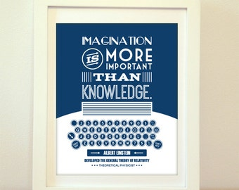 Imagination is More Important Than Knowledge, Albert Einstein, Einstein, Einstein Quote, Type, Typography, Typewriter, Inspiration, Imagine