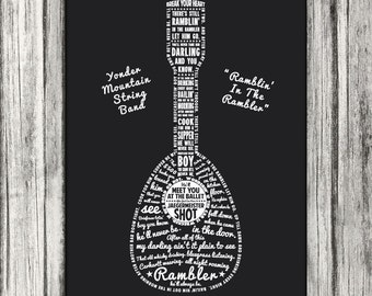 Custom lyrics printed in a Guitar, Mandolin, Bass, or Ukulele Shape - 18x24