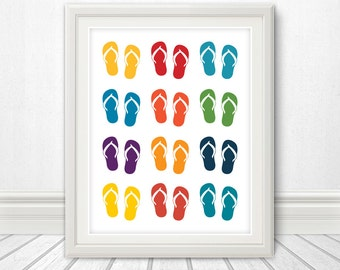 Flip Flops, Sandals, Sandals Print, Wall Art, Pool, Pool Sign, Art, Print, Poster, Home Decor, Apartment Decor, Summer, Beach - 11x14