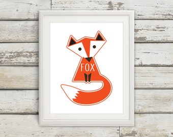 Fox, Fox Tail, Fox Wall Art, Fox Print, Fox Poster, Fox Kids, Nursery, Nursery Wall Art, Nursery Decor, Fox Nursery, Fox Kids Wall Art