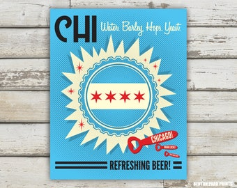 CHI Water Barley Hops Yeast Print - Chicago, Chicago Beer Print
