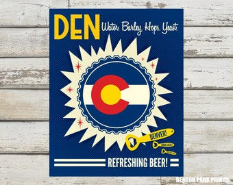 Denver, Water Barley Hops Yeast - Denver Colorado, Denver Beer Print, Colorado Flag, Denver Beer, Denver Beer Cap, Denver Art