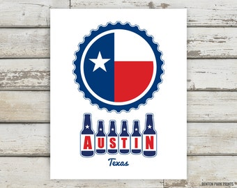Austin Texas Beer Print, Austin, Texas, Beer Art, Homebrew, Brewery, Brewer Gift, Brewer Artwork, Brewery Print, Bottles, Bottle Cap