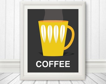 Coffee, Scandinavian Inspired Print, Coffee Print, Coffee Poster, Coffee Art - 8x10