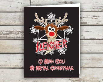 Sleigher, Metal Christmas, Christmas Card, XMAS, XMAS card, Reindeer, funny xmas card, holiday card, funny holiday card