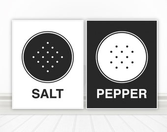 Salt & Pepper, Custom Color Kitchen Wall Art, Kitchen Decor, Home Decor, Apartment Decor, Apartment Wall Art, Art For Kitchen - 8x10