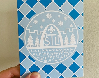 Checkerboard Blue St. Louis Skyline Christmas Card, St. Louis, Christmas, STL, Saint Louis, Saint Louis Arch