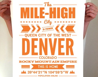 Denver, Colorado, Denver Typography, Denver Print, Denver Art, Denver Sign, Denver Poster, Denver Colorado, Typography, Denver Decor