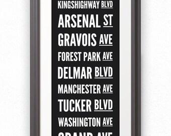 St Louis, Custom Sign, Street Sign, St Louis Streets, St Louis Art, St Louis Print, St Louis Poster, Saint Louis, St Louis Sign