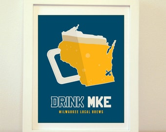 Milwaukee, Wisconsin, Old Milwaukee, MKE, Milwaukee Beer, Milwaukee Beer Print, Milwaukee Poster, Milwaukee Print, Milwaukee Art, Beer Art
