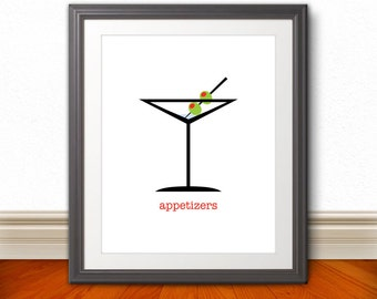 Martini Glass Olive Appetizers Print, Martini Glass Poster, Martini, Kitchen Poster, Modern Art, Modern Kitchen Print, Dinner Poster