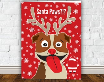 Santa Paws - Pit Bull Christmas Card, Puppy Christmas Card, Dog Christmas Card, Santa Christmas Card, XMAS, Pit bull