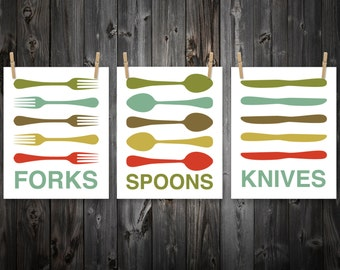 Forks Knives Spoons Print Set, Fork, Knife, Spoon, Kitchen Art, Kitchen Decor, Home Decor, Artwork, Wall Art, Kitchen Print, Kitchen Poster