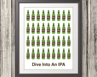 Dive Into An IPA, Beer, Beer Print, Craft Beer, Bar Art, Local Brew - 11x14