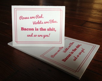 Bacon, Bacon Card, greeting card, birthday card, bacon greeting, thank you card, Bacon is the Shit - Individual Thank You Card